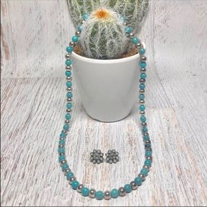 Silver Turquoise Magnetic Necklace & Earrings